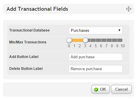 Transactional Fields Options